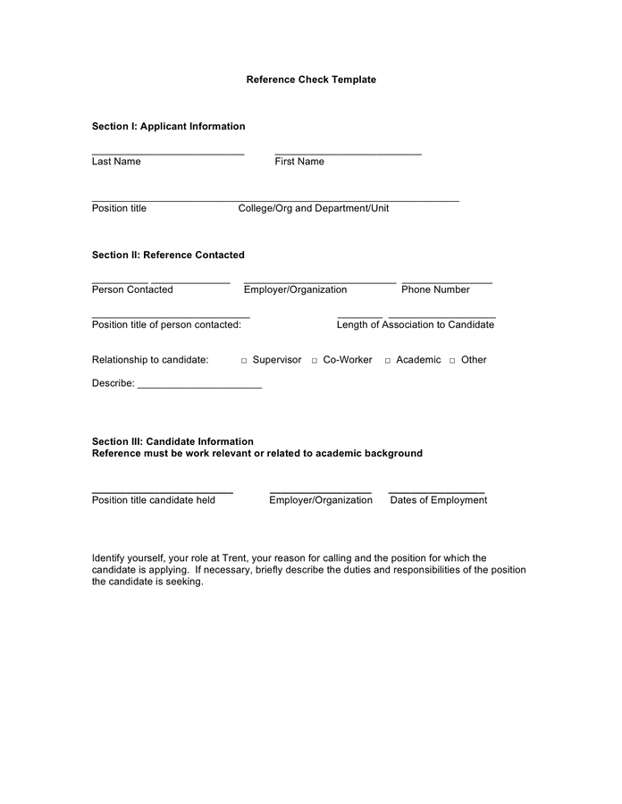 Reference Check Template In Word And Pdf Formats