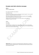 Example email debt collection messages page 1 preview