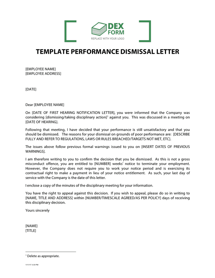 Template performance dismissal letter preview