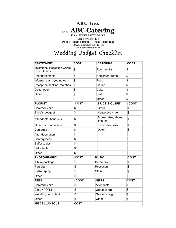 Wedding budget sheet preview