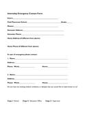 Internship emergency contact form page 1 preview
