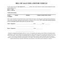 Bill of sale for a motor vehicle page 1 preview