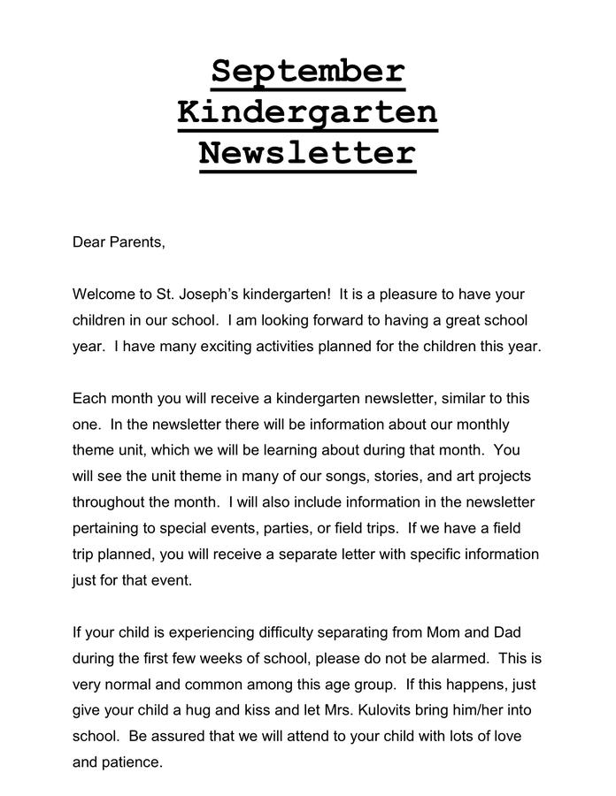 Preschool September Newsletter page 1