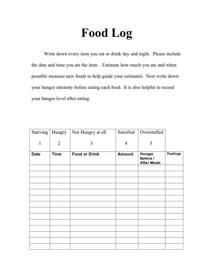 Food Log Template - download free documents for PDF, Word and Excel