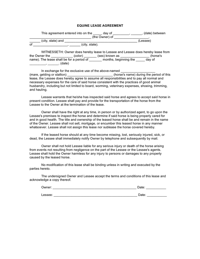 Horse lease agreement preview