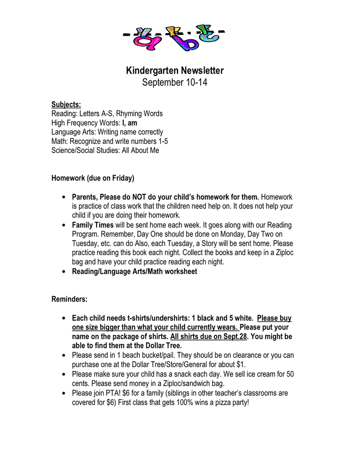 kindergarten homework newsletter