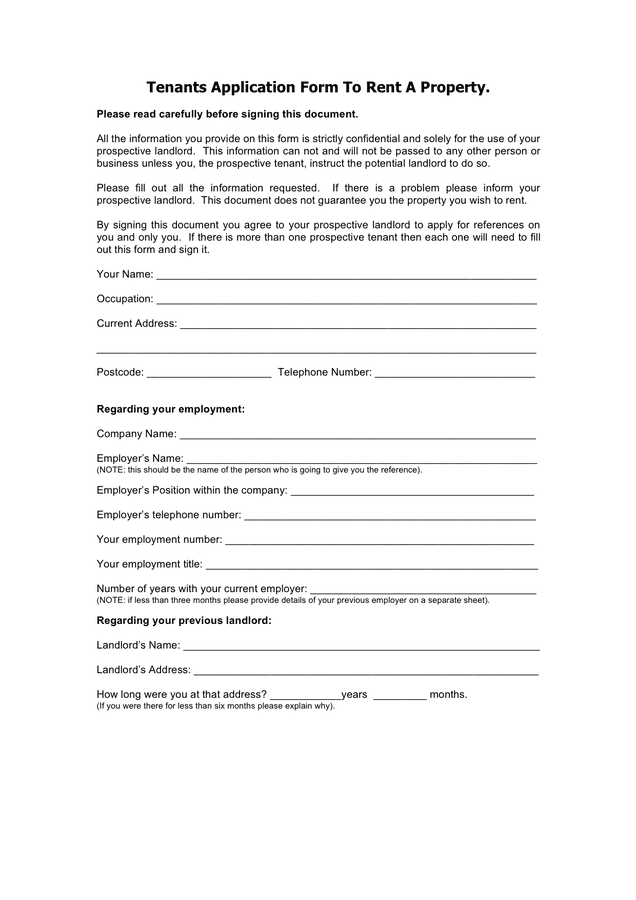 Tenants application form to rent a property page 1