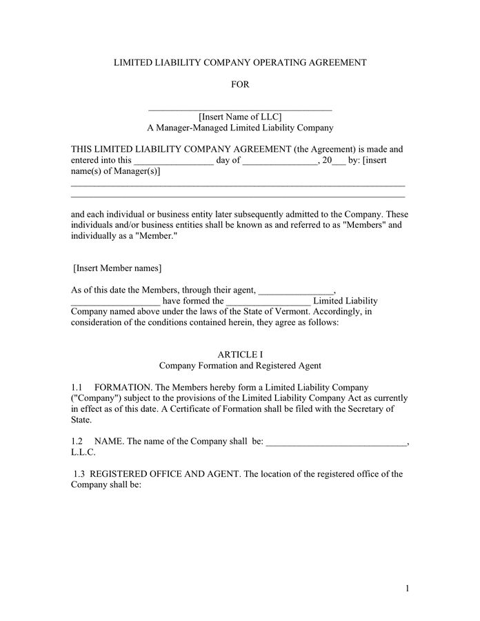 Operating agreement for LLC page 1