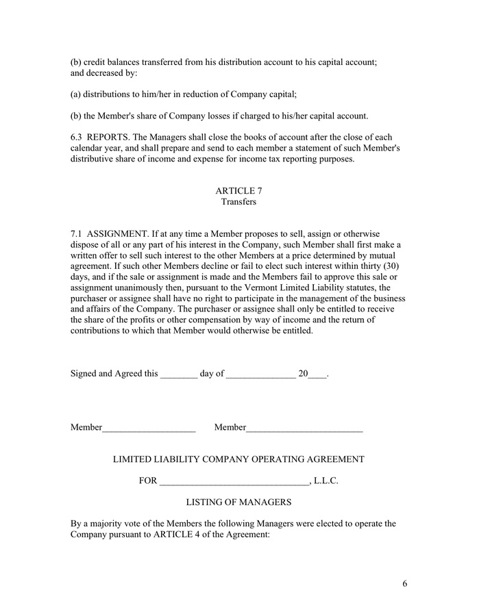 Operating agreement for LLC page 6