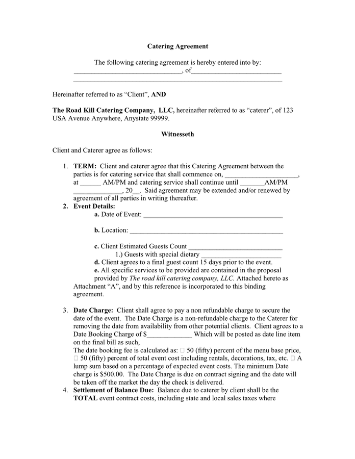 Catering Agreement Contract Sample For 2021 Printable And Downloadable Fust