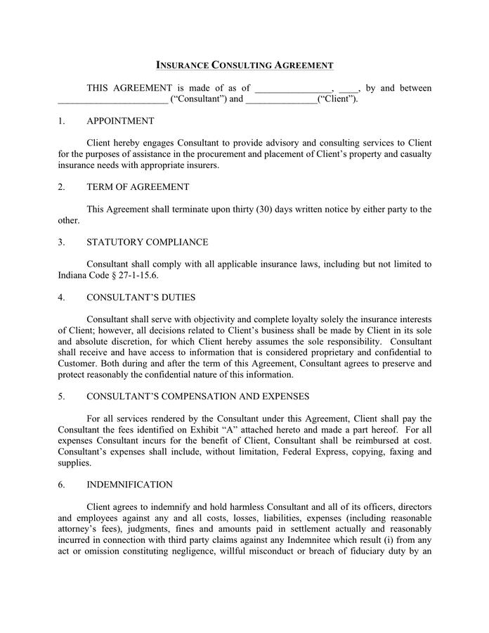 Insurance consulting agreement template preview