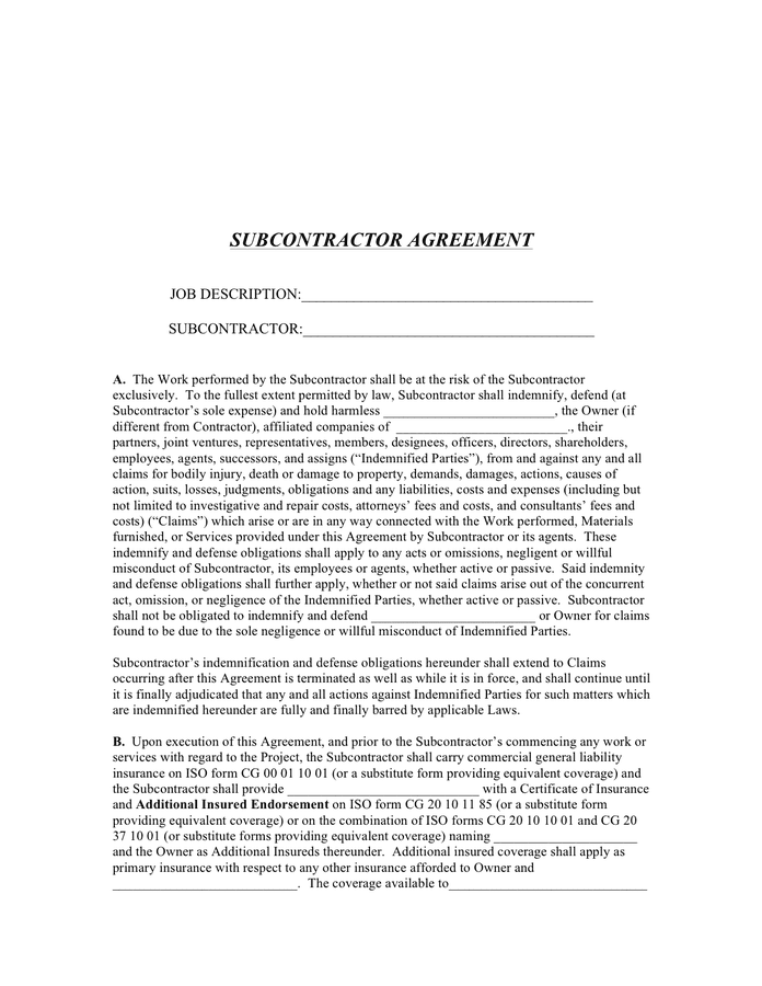 Subcontractor agreement page 1