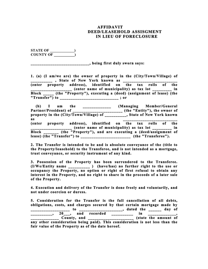 Affidavit for deed in lieu of foreclosure preview