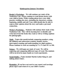 Kindergarten January Newsletter page 1 preview